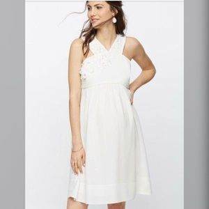 NWT Ivory Maternity Dress with Floral Beading